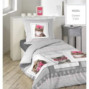 Sivé detské bavlnené posteľné obliečky 140x200cm s motívom mačiek