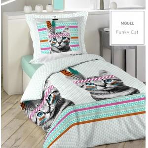 Posteľné bavlnené obliečky 140x200cm s mačkou