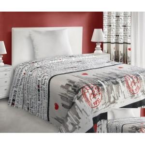 Biele obojstranné prehozy na posteľ s nápismi