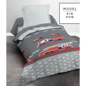 Sivé bavlnené posteľné obliečky s hasičským autom