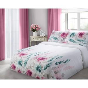 Biele bavlnené obliečky na posteľ s kvetmi