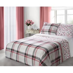 Bielo červené bavlnené posteľné obliečky