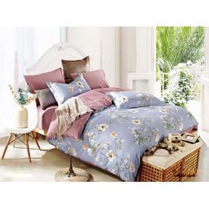 Modré obojstranné posteľné obliečky kvetinovým motívom