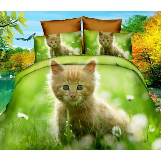 Zelené posteľné obliečky s mačičkou 160x200 cm