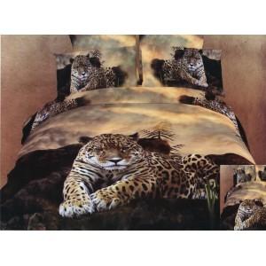 Bavlnené posteľné obliečky so vzorom leoparda