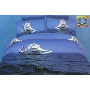 3D bavlnené posteľné obliečky s motívom plachetnice