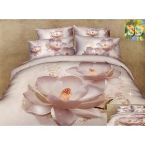 Krémové bavlnené posteľné obliečky so vzorom kvetu