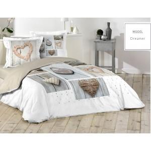 Biele bavlnené posteľné obliečky s motívom sŕdc