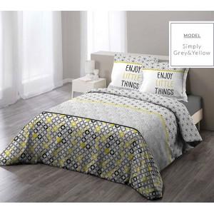 Žlté bavlnené posteľné obliečky v nórskom štýle 200 x 220 cm