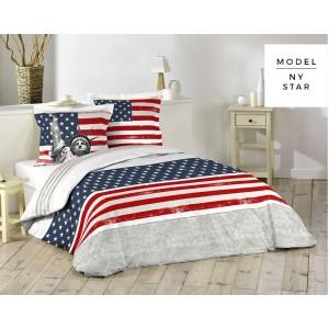 Bavlnené posteľné obliečky s americkou vlajkou
