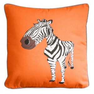 Oranžová detská obliečka na vankúš so vzorom zebry