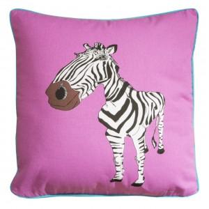 Ružové detské obliečky na vankúše s motívom zebry