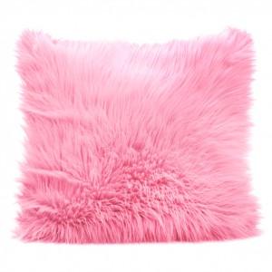 Ružové chlpaté obliečky na vankúš 45x45cm