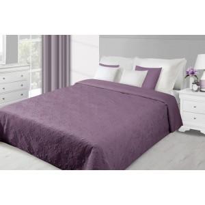 Fialový obojstranný prehoz na posteľ so vzorom kvetov