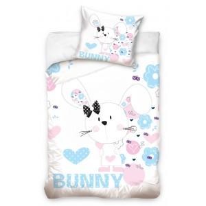 Dievčenské bavlnené posteľné obliečky so vzorom zajačíka