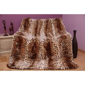 Mäkká béžová deka s gepardím vzorom
