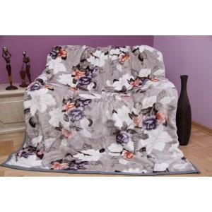 Moderná sivá deka s motívom kvietkov
