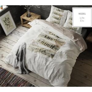 Béžové bavlnené posteľné obliečky s nápisom