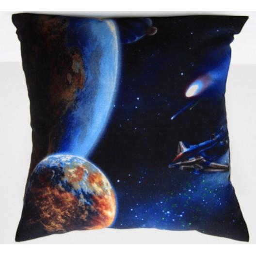 Modrá ozdobná obliečka na vankúš so vzorom vesmíru