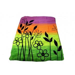 Zelená deka s motívom kvetov