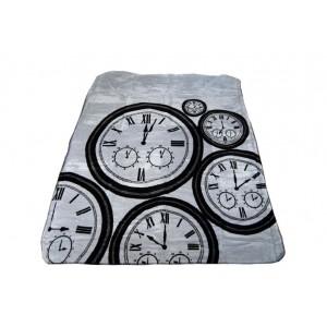 Sivá deka so vzorom hodín