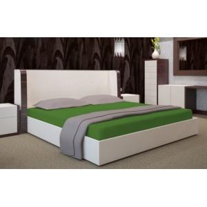 Tmavo zelené prestieradlo na posteľ s gumičkou