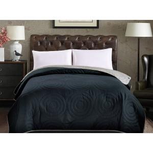 Tmavomodré obojstranné prehozy na posteľ s motívom kruhov