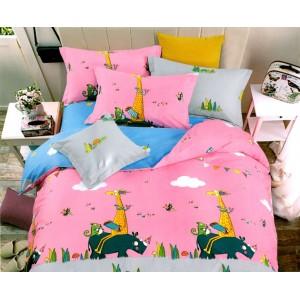 Ružové posteľné obliečky so zvieratkami