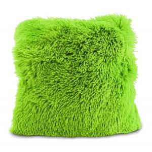 Zelená chlpatá obliečka na vankúš