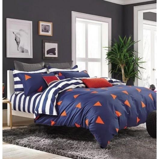 Tmavomodré posteľné obliečky so vzorom