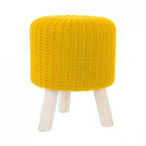 Žltá taburetka z pleteného materiálu