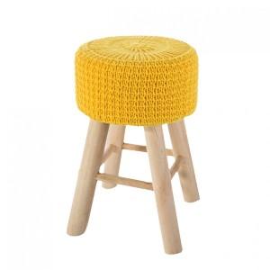 Pletená žltá taburetka do obývačky