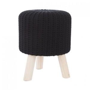 Moderná čierna taburetka s drevenými nohami