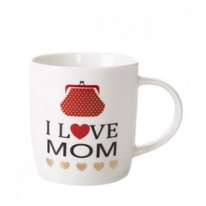 Béžový hrnček I LOVE MOM