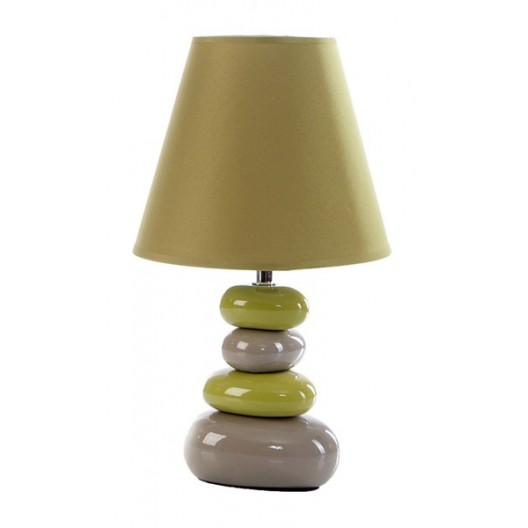 Zelená stolná lampa na keramickom podstavci