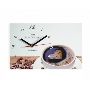 Nástenné hodiny so šálkou kávy