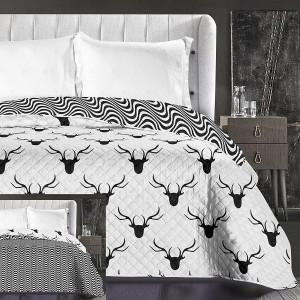 Biely prehoz na posteľ s motívom jeleňa
