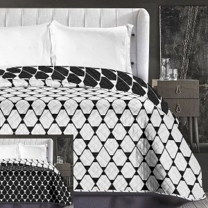 Čierno biele prehozy na posteľ obojstranné