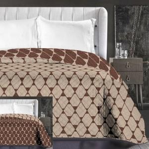 Hnedé vzorované prehozy na manželskú posteľ