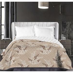 Béžové prehozy na posteľ so vzorom kvetín