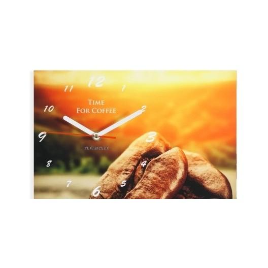 Oranžové nástenné hodiny do kuchyne s motívom kávy