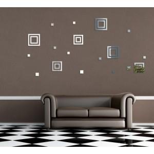 Dekoračné nalepovacie zrkadlá v tvare štvorcov