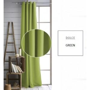 Jednofarebný zelený záves do obývačky