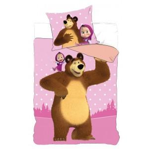 Ružové detské posteľné obliečky Máša a medveď
