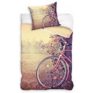 Detské posteľné obliečky s motívom bicykla v hnedej farbe