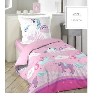 Ružové posteľné obliečky z bavlny s jednorožcom