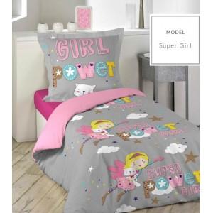 Girl power dievčenské posteľné obliečky sivej farby
