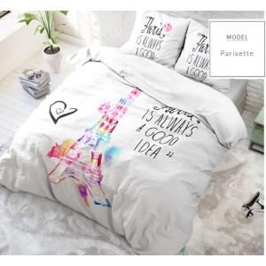 Biele posteľné obliečky s motívom Eiffelovky