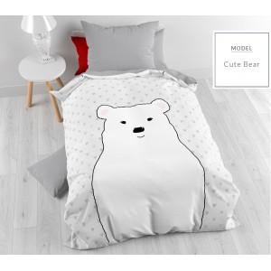 Sivé detské posteľné obliečky s medvedíkom