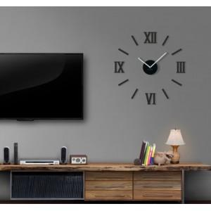 Nalepovacie hodiny na stenu v čiernej farbe